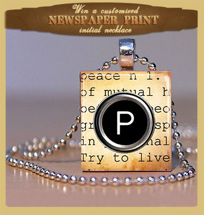 Enter to Win a Newspaper Print Initial Necklace!
