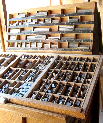 Letter block storage cabinet
